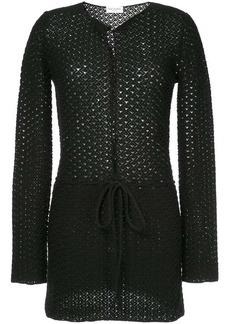 Saint Laurent waist-tied embroidered cardigan