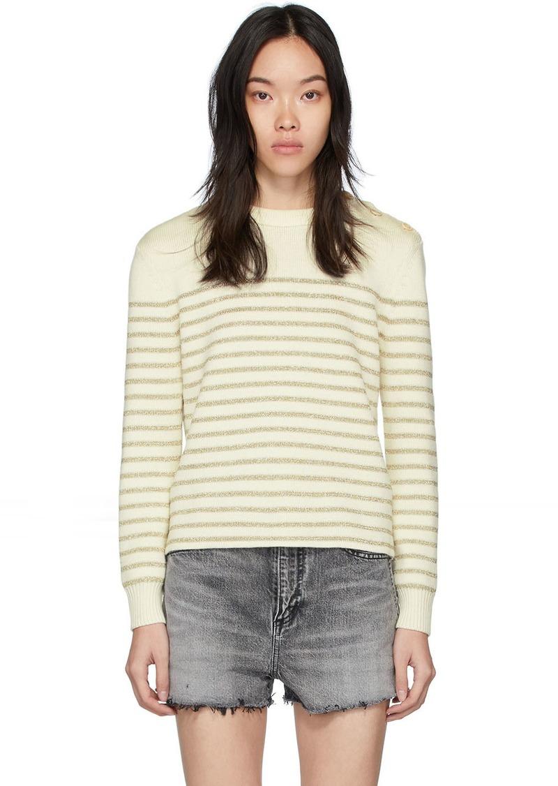Saint Laurent White & Gold Lamé Sailor Sweater