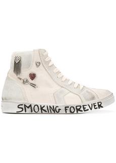 Saint Laurent White Joe canvas hi top sneakers