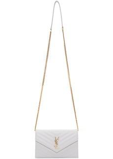Saint Laurent White Small Monogramme Chain Wallet Bag