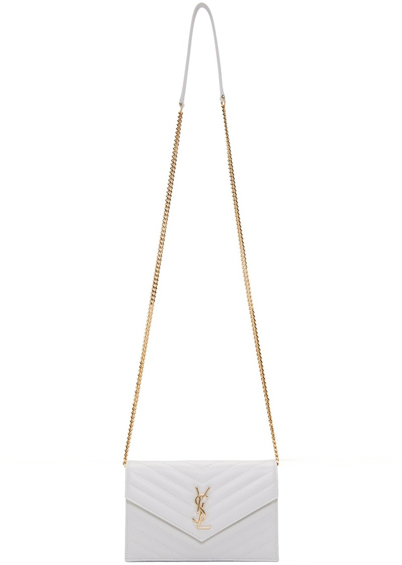 Saint Laurent White Small Monogramme Chain Wallet Bag