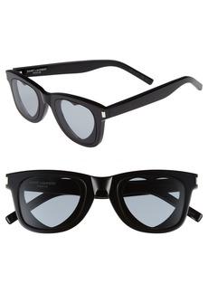 Women's Saint Laurent 50mm Heart Sunglasses - Black