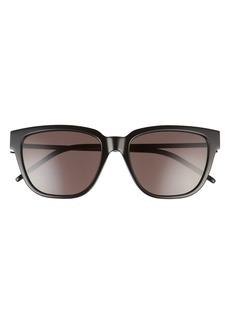 Women's Saint Laurent 56mm Square Sunglasses - Shiny Black/ Black