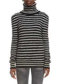 Women's Saint Laurent Stripe Turtleneck Sweater
