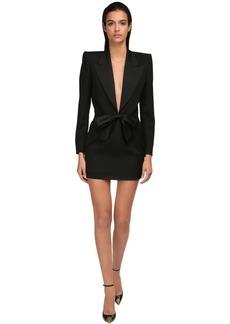 Saint Laurent Wool Grain De Poudre Mini Dress W/ Bow