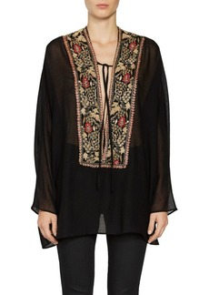 Saint Laurent Wool Plunge Front Embroidery Tunic