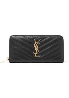 Saint Laurent Zip Around Quilted Textured-leather Wallet
