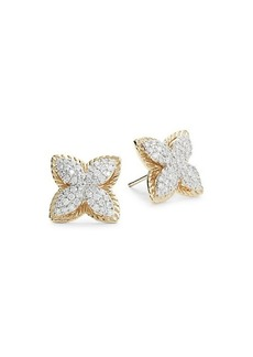 Saks Fifth Avenue 14K Yellow Gold & Diamond Flower Stud Earrings