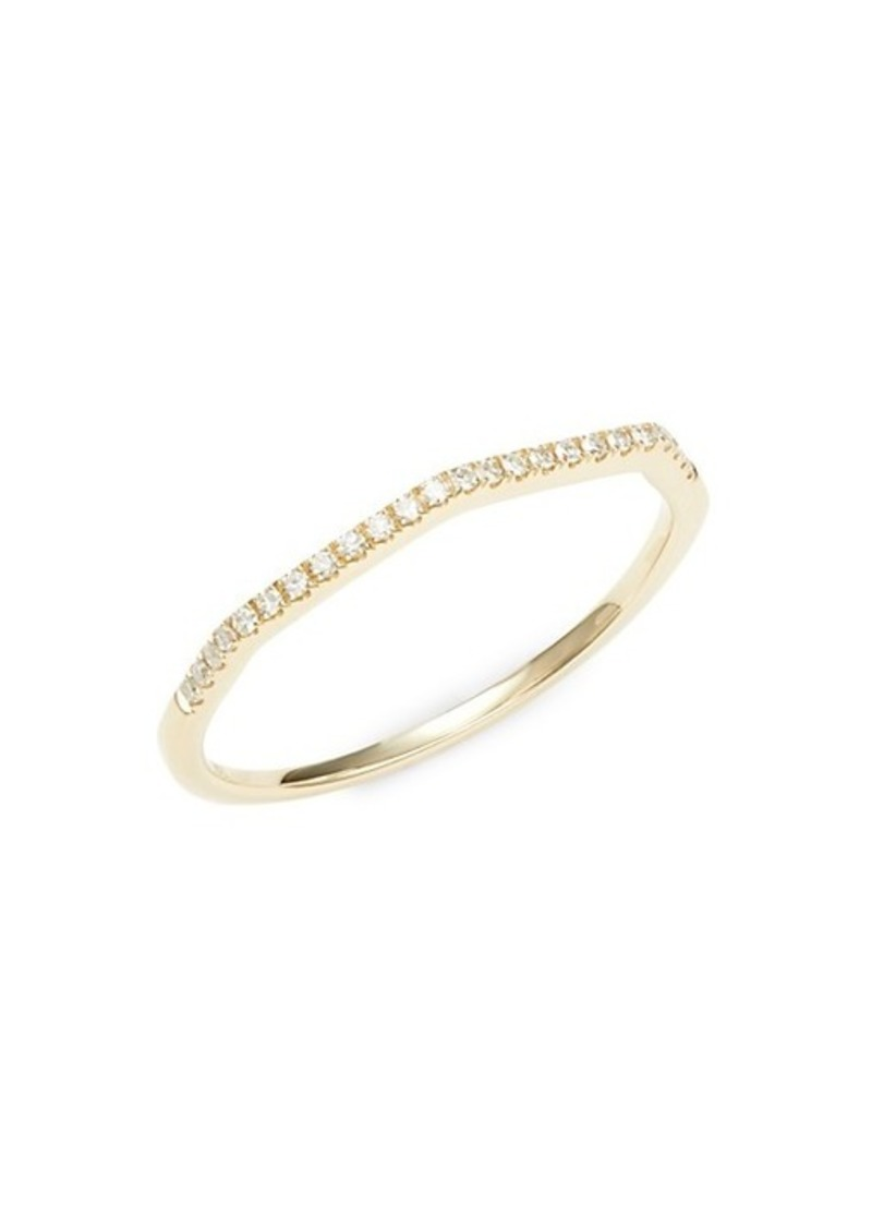 14K Yellow Gold & Diamond Geometric Stacking Ring
