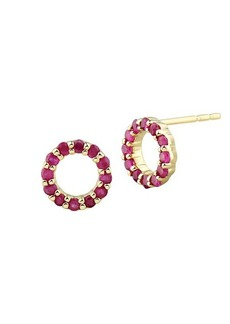 Saks Fifth Avenue 14K Yellow Gold & Ruby Circular Stud Earrings