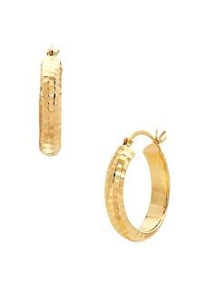 Saks Fifth Avenue 14K Yellow Gold Hammered Hoop Earrings