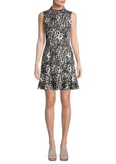 Saks Fifth Avenue Animal-Print Mockneck A-Line Dress