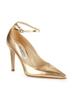 Saks Fifth Avenue Ankle Strap Leather Pumps