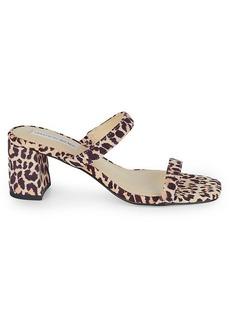 Saks Fifth Avenue Barrett Leopard Suede Block-Heel Sandals