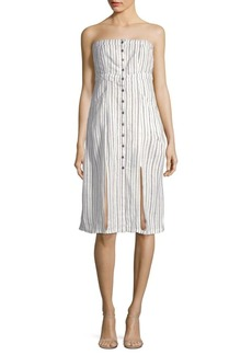 Saks Fifth Avenue Bianca Striped Linen-Blend Strapless Dress