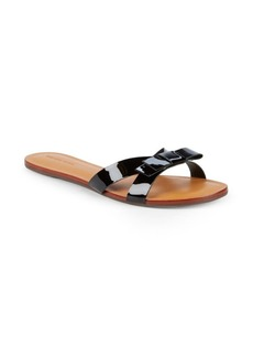 Saks Fifth Avenue Bow Leather Slides
