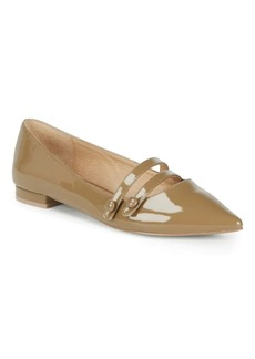 Saks Fifth Avenue Buttoned Strap Patent Leather Flats