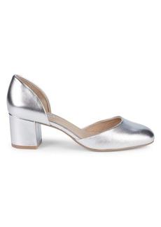 Saks Fifth Avenue Camila Metallic Leather Block Heel Ballerina Pumps
