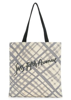 Saks Fifth Avenue Canvas Grid Pattern Logo Tote Bag
