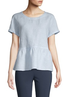 Saks Fifth Avenue Chambray Peplum Top