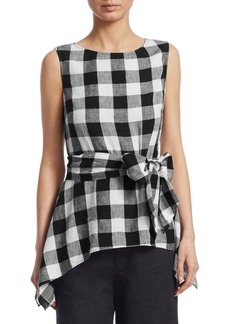 Saks Fifth Avenue COLLECTION Checked Tie Front Top