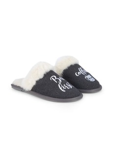 Saks Fifth Avenue Coffee First Faux Fur Slippers
