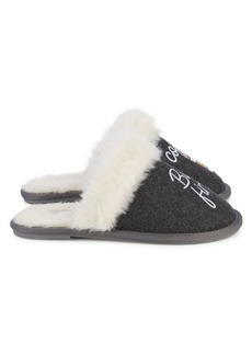 Saks Fifth Avenue Coffee New Pitch Faux Fur-Lined Slippers