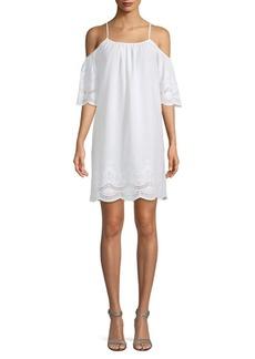 Cold-Shoulder Cotton Shift Dress