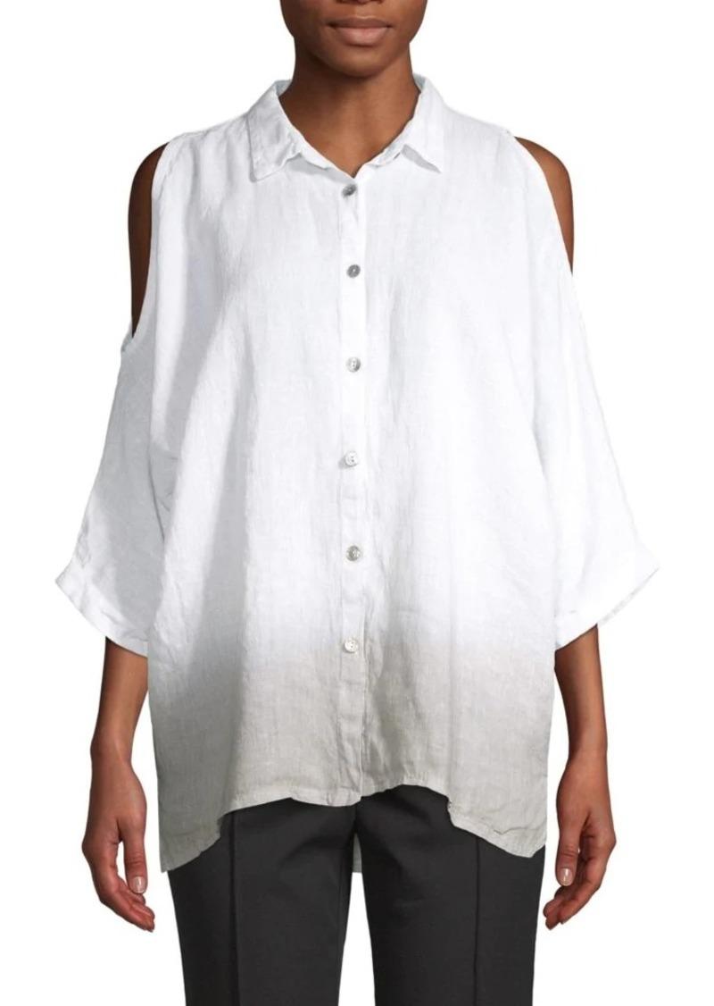 Saks Fifth Avenue Cold-Shoulder Linen Blouse