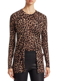 Saks Fifth Avenue COLLECTION Animal Print Cashmere Cardigan