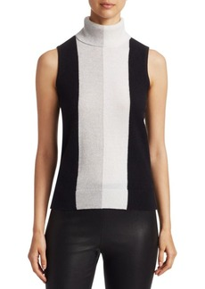 Saks Fifth Avenue COLLECTION Cashmere Colorblock Sleeveless Turtleneck