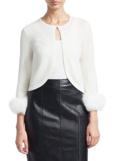 Saks Fifth Avenue COLLECTION Cashmere Cropped Fox Fur Cuff Cardigan