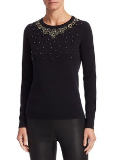 Saks Fifth Avenue COLLECTION Embellished Cashmere Sweater