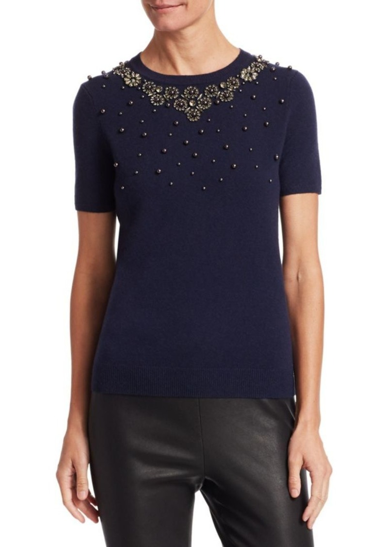 Saks Fifth Avenue COLLECTION Embellished Cashmere Tee