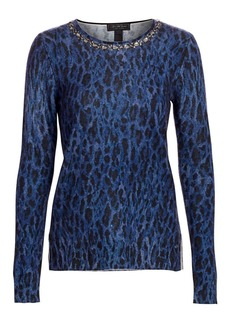 Saks Fifth Avenue COLLECTION Embellished Leopard-Print Cashmere Sweater