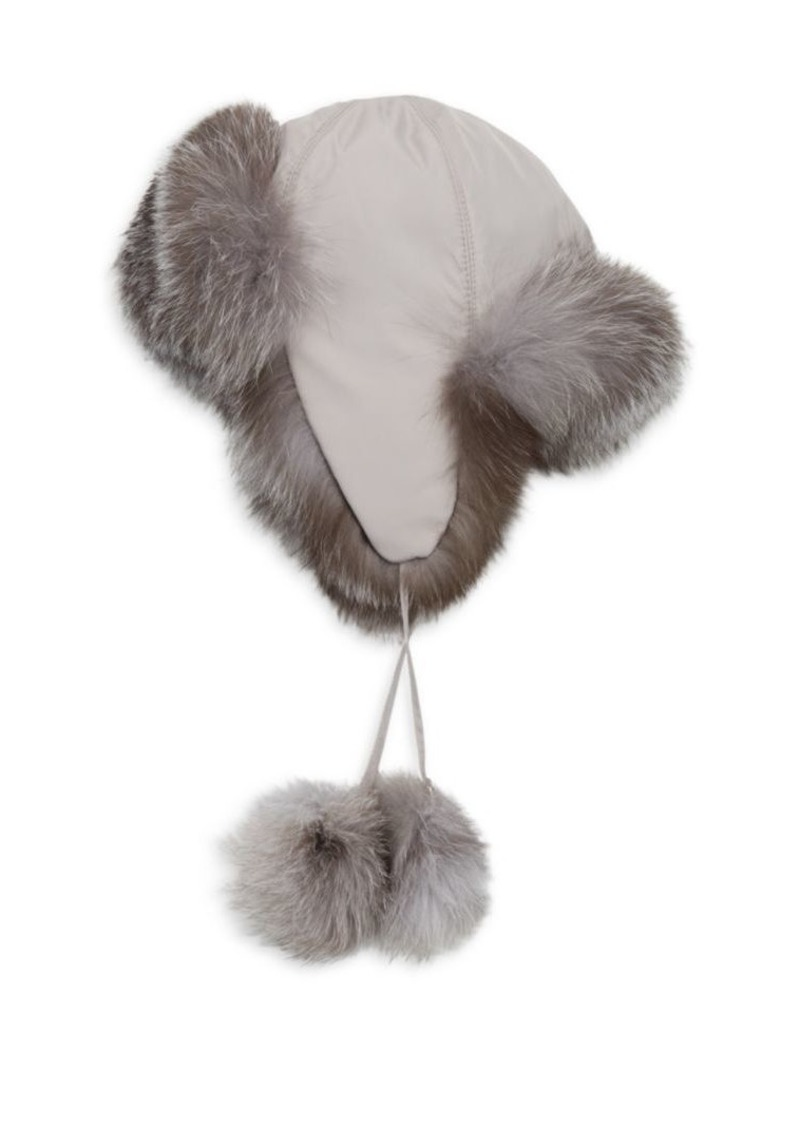 Saks Fifth Avenue COLLECTION Fox Fur-Lined Pom Pom Trapper Hat