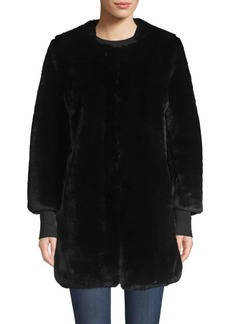 Saks Fifth Avenue COLLECTION Faux Fur Plush Car Coat