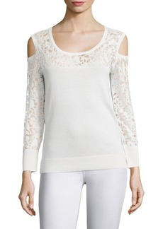 Saks Fifth Avenue COLLECTION Lace Burnout Cold-Shoulder Top
