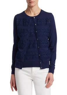 Saks Fifth Avenue COLLECTION Lace-Trim Cardigan