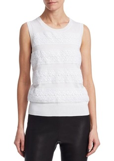 Saks Fifth Avenue COLLECTION Lace-Trimmed Crewneck Top