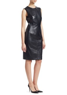 Saks Fifth Avenue COLLECTION Leather Sheath Dress