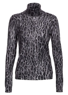 Saks Fifth Avenue COLLECTION Leopard-Print Cashmere Turtleneck Sweater