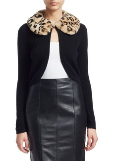 Saks Fifth Avenue COLLECTION Cashmere Leopard Print Rabbit Fur Collar Cardigan