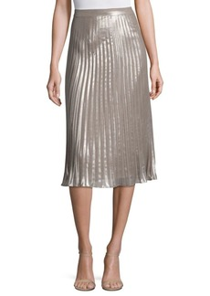 Saks Fifth Avenue COLLECTION Metallic Pleated Skirt