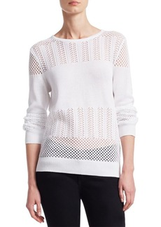 Saks Fifth Avenue COLLECTION Mixed-Stitch Cotton Pullover