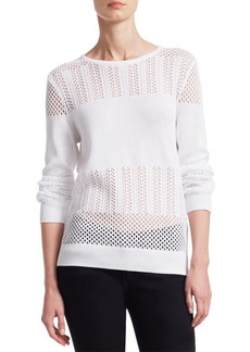 Saks Fifth Avenue COLLECTION Mixed Stitch Cotton Pullover