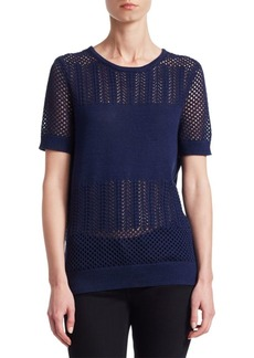 Saks Fifth Avenue COLLECTION Mixed-Stitch Short-Sleeve Pullover