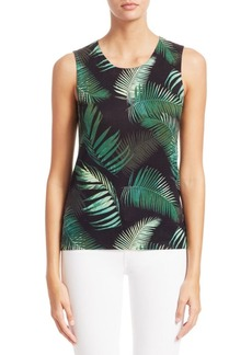 Saks Fifth Avenue COLLECTION Palm Leaf Cashmere Shell Top