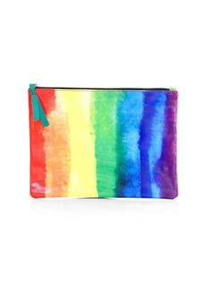 Saks Fifth Avenue COLLECTION Rainbow Canvas Flat Pouch