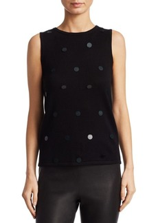 Saks Fifth Avenue COLLECTION Sequined Silk & Cashmere Shell